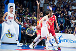 Real Madrid's player Hernangomez and Sergio Rodriguez and UCAM Murcia's player Antelo and Moreira during the third match of the Liga Endesa Playoff at Barclaycard Center in Madrid. May 31. 2016. (ALTERPHOTOS/Borja B.Hojas)