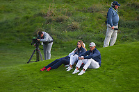 Brooks Koepka (Team USA) and his fiance, Jena Sims watch the afternoon foursomes near the green on 9 during Friday's foursomes of the 2018 Ryder Cup, Le Golf National, Guyancourt, France. 9/28/2018.<br /> Picture: Golffile | Ken Murray<br /> <br /> <br /> All photo usage must carry mandatory copyright credit (&copy; Golffile | Ken Murray)