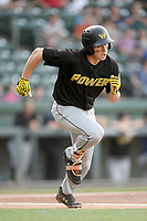 Center fielder Jarred Kelenic (10) of the West Virginia Power runs toward first base in a game against the Greenville Drive on Friday, May 17, 2019, at Fluor Field at the West End in Greenville, South Carolina. West Virginia won, 10-4. (Tom Priddy/Four Seam Images)