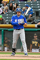 Niuman Romero (8) of the Las Vegas 51s at bat against the Salt Lake Bees in Pacific Coast League action at Smith's Ballpark on September 4, 2016 in Salt Lake City, Utah. The Bees defeated the 51s 4-3. (Stephen Smith/Four Seam Images)