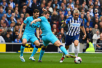 Jan Vertonghen of Tottenham Hotspur gets a toe to the ball  ahead of Neal Maupay of Brighton and Hove Albion during Brighton & Hove Albion vs Tottenham Hotspur, Premier League Football at the American Express Community Stadium on 5th October 2019
