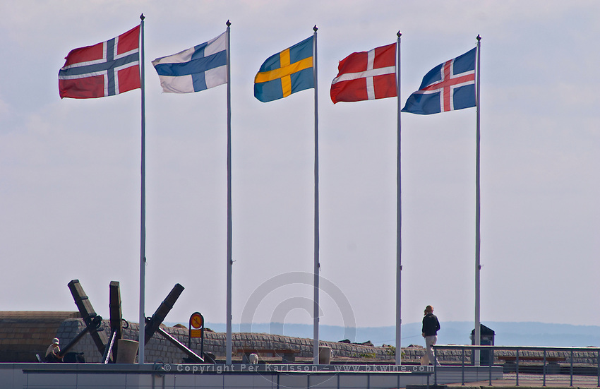The Pier' on Parapeten in the harbour. The flags of Norway, Finland, Sweden, Denmark and Iceland, the five Nordic countries. Helsingborg, Skane, Scania. Sweden, Europe.