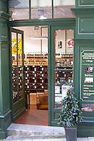 Wine shop. Outside looking in. The town. Saint Emilion, Bordeaux, France
