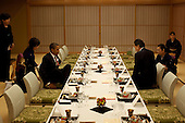 Tokyo, Japan - Friday, November 13, 2009 -- United States President Barack Obama dines with Prime Minister Yukio Hatoyama of Japan at Kantei, the Prime Minister's office and official residence in Tokyo, Japan, Friday, November 13, 2009.  .Mandatory Credit: Pete Souza - White House via CNP
