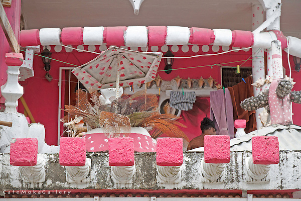 The pink and white decorative and eclectic house of Lawrence Andrews. Portsmouth, Dominica