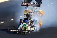 Jul. 20, 2013; Morrison, CO, USA: NHRA top fuel dragster driver Terry McMillen during qualifying for the Mile High Nationals at Bandimere Speedway. Mandatory Credit: Mark J. Rebilas-