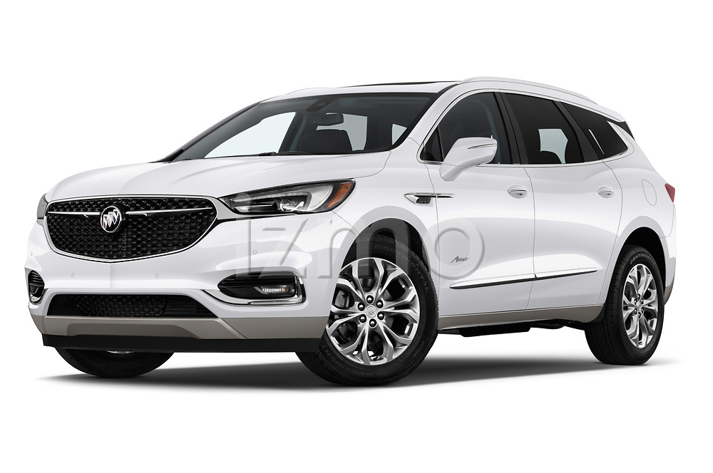 Stock pictures of low aggressive front three quarter view of a 2018 Buick Enclave Avenir 5 Door SUV
