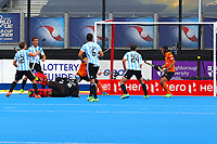 Argentina's Lucas Vila opens the scoring from a penalty corner during the Hockey World League Semi-Final match between Argentina and Malaysia at the Olympic Park, London, England on 24 June 2017. Photo by Steve McCarthy.