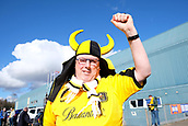24th March 2018, McDiarmid Park, Perth, Scotland; Scottish Football Challenge Cup Final, Dumbarton versus Inverness Caledonian Thistle; Dumbarton fan in headpiece
