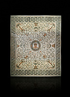 Pictures of a Roman mosaics design depicting the Four Seasons, from the Maison de la Procession Dionysiaque, ancient Roman city of Thysdrus. 2nd century AD. El Djem Archaeological Museum, El Djem, Tunisia.