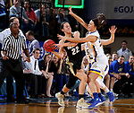 BROOKINGS, SD - MARCH 19:  Sydney Tracy #33 from South Dakota State applies pressure to Haley Smith #22 from Colorado during their second round WNIT game at Frost Arena March 19, 2017 in Brookings, South Dakota. (Photo by Dave Eggen/Inertia)