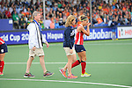 The Hague, Netherlands, June 10: Paige Selenski #21 of USA leaves the pitch with an injury during the field hockey group match (Women - Group B) between USA and South Africa on June 10, 2014 during the World Cup 2014 at GreenFields Stadium in The Hague, Netherlands. Final score 4-2 (1-0) (Photo by Dirk Markgraf / www.265-images.com) *** Local caption ***