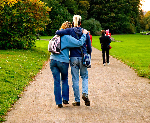 Couple walking in the park, lovers concept