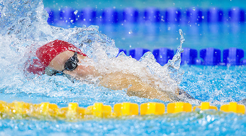 01 AUG 2012 - LONDON, GBR - Joanne Jackson (GBR) of Great Britain races during the first women's 4 x 200m Freestyle Relay heat during the morning session of the London 2012 Olympic Games Swimming at the Aquatic Centre in the Olympic Park, in Stratford, London, Great Britain (PHOTO (C) 2012 NIGEL FARROW)