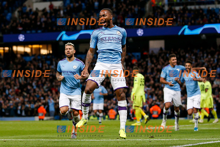 Raheem Sterling of Manchester City celebrates after scoring his side's first goal to make the score 1-0 during the UEFA Champions League Group C match between Manchester City and Dinamo Zagreb at the Etihad Stadium on October 1st 2019 in Manchester, England. (Photo by Daniel Chesterton/phcimages.com)<br /> Foto PHC/Insidefoto <br /> ITALY ONLY