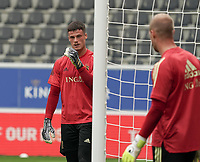 Belgium's goal keeper Mile Svilar pictured during warm up before a soccer game between the national teams Under21 Youth teams of Belgium and Germany on the 5th matday in group 9 for the qualification for the Under 21 EURO 2021 , on tuesday 8 th of September 2020  in Leuven , Belgium . PHOTO SPORTPIX.BE | SPP | SEVIL OKTEM