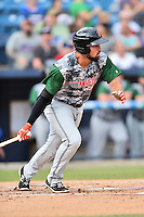 Augusta GreenJackets third baseman Dillon Dobson (46) swings at a pitch during a game against the Asheville Tourists at McCormick Field on July 21, 2016 in Asheville, North Carolina. The GreenJackets defeated the Tourists 6-3. (Tony Farlow/Four Seam Images)