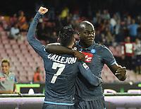Gol  Esultanza  Kalidou Koulibaly  durante l'incontro  di calco d Seriden A  tra SSC Napoli e US Palermo    allo stadio San Paolo di Napoli , 24 Settembre  2014
