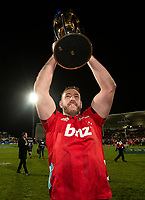 Luke Romano of the Crusaders with the trophy following the 2018 Super Rugby final between the Crusaders and Lions at AMI Stadium in Christchurch, New Zealand on Sunday, 29 July 2018. Photo: Joe Johnson / lintottphoto.co.nz