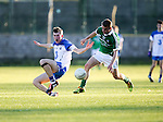 XXjob 22/04/2015 SPORT<br /> Limericks Ed Sheehy &amp; Waterford's John Elstead in action during their munster Minor Football Semi-Final 1st Playoff in Newcastle West County Limerick.<br /> Picture  Credit Brian Gavin Press 22