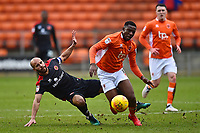 Blackpool's Viv Solomon-Otabor is challenged by Walsall's Adam Chambers<br /> <br /> Photographer Richard Martin-Roberts/CameraSport<br /> <br /> The EFL Sky Bet League One - Blackpool v Walsall - Saturday 10th February 2018 - Bloomfield Road - Blackpool<br /> <br /> World Copyright &not;&copy; 2018 CameraSport. All rights reserved. 43 Linden Ave. Countesthorpe. Leicester. England. LE8 5PG - Tel: +44 (0) 116 277 4147 - admin@camerasport.com - www.camerasport.com