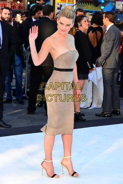 Alice Eve.attending the UK film premiere of 'Star Trek Into Darkness 3D' held at the Empire Cinema, London, United Kingdom, .2nd May 2013..full length hair up bun smiling strapless beige nude grey gray dress hand waving side ankle strap sandals open toe black waistband belt .CAP/BF.©Bob Fidgeon/Capital Pictures