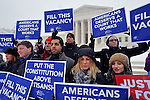 WASHINGTON, DC - FEBRUARY 15:  People For the American Way activists rally outside of the Supreme Court, calling on Congress to give fair consideration to President Obama's nominee to the Supreme Court of the United States on February 15, 2016 in Washington, DC.  (Photo by Larry French/Getty Images for People For The American Way)