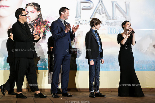 Japanese pop singer-songwriter Seiko Matsuda sings a happy birthday song for boy actor Levi Miller, whose birthday was a day before, during the Japanese premiere for the film Pan at Roppongi Hills Arena on October 1, 2015, Tokyo, Japan. The movie hits Japanese theatres on October 31st. Pictured from left to right director Joe Wright, actor Hugh Jackman, boy actor Levi Miller and Japanese pop singer-songwriter Seiko Matsuda. (Photo by Rodrigo Reyes Marin/AFLO)