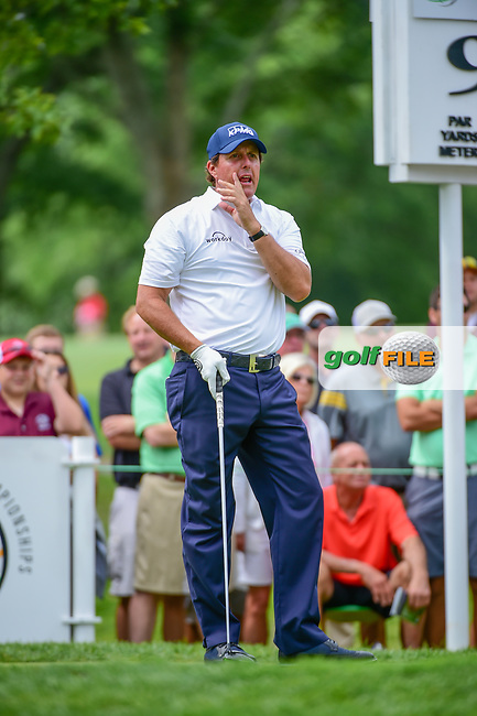Phil Mickelson (USA) yells &quot;four&quot; after his tee shot on the 9th tee during Sunday's final round of the World Golf Championships - Bridgestone Invitational, at the Firestone Country Club, Akron, Ohio. 8/6/2017.<br /> Picture: Golffile | Ken Murray<br /> <br /> <br /> All photo usage must carry mandatory copyright credit (&copy; Golffile | Ken Murray)