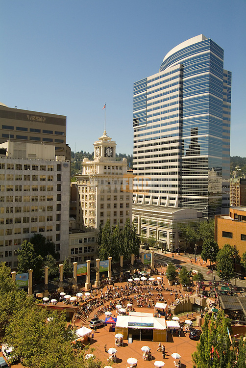 Pioneer Courthouse Square with Fox Tower