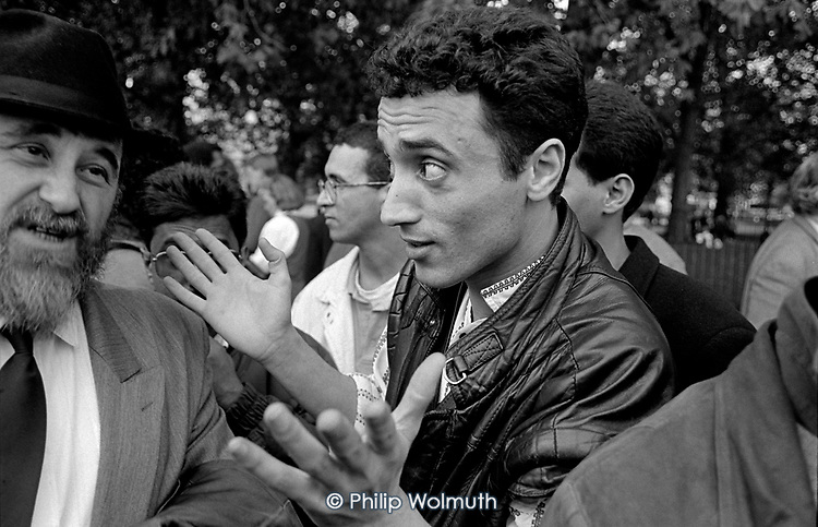 A Palestinian and a Jewish man argue at Speakers Corner, Hyde Park, London
