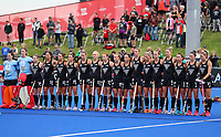 Blacksticks national anthem during the Pro League Hockey match between the Blacksticks women and the USA, Nga Punawai, Christchurch, New Zealand, Sunday 16 February 2020. Photo: Simon Watts/www.bwmedia.co.nz