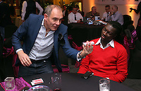 Pictured: Bafetimbi Gomis entertained by a magician <br />
