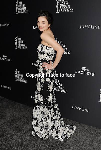 BEVERLY HILLS, CA- FEBRUARY 22: Actress Crystal Reed arrives at the 16th Costume Designers Guild Awards at The Beverly Hilton Hotel on February 22, 2014 in Beverly Hills, California.<br />