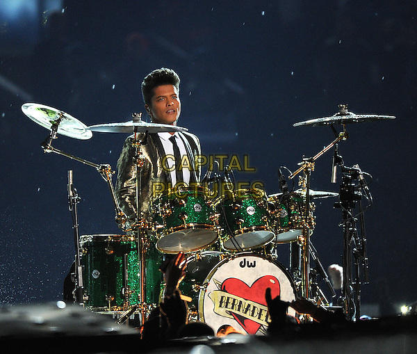 EAST RUTHERFORD, NJ - FEBRUARY 02:  Bruno Mars performs on the Pepsi Halftime show during Super Bowl XLVIII  at MetLife Stadium on February 2, 2014 in East Rutherford, NJ. USA.<br /> CAP/MPI/PGF<br /> &copy;PGFMicelotta/MediaPunch/Capital Pictures