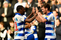 Yakou Meite of Reading left congratulates John Swift of Reading after scoring to make the score 1-1- during Reading vs Wigan Athletic, Sky Bet EFL Championship Football at the Madejski Stadium on 9th March 2019