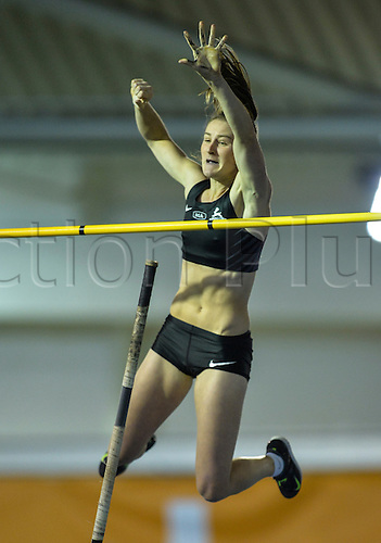 14.02.2015.  Sheffield, England. British Indoor Athletics Championship. Sally Peake clears the bar in the Polevault.