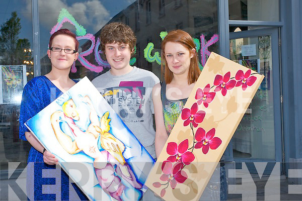 NicolaCollins, Gregor Pituch and Katie O'Reilly of Babytag shown off some of their art work on Saturday morning at the ld First Active Bank, Tralee...