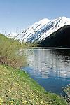 Mountains reflecting on Jerome Lake, Kenai Penninsula, Alaska