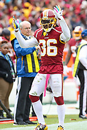Landover, MD - October 14, 2018: Washington Redskins free safety D.J. Swearinger (36) pumps up the crowd during the  game between Carolina Panthers and Washington Redskins at FedEx Field in Landover, MD.   (Photo by Elliott Brown/Media Images International)