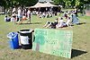 """Crowd of people enjoying the sunshine at Nottingham University Student Union """"Sounds on the Downs"""" Green Fields Festival; part of Green Week 2008,"""