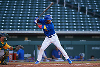 AZL Cubs 1 Oswaldo Pina (60) at bat during an Arizona League game against the AZL Athletics Gold at Sloan Park on June 20, 2019 in Mesa, Arizona. AZL Athletics Gold defeated AZL Cubs 1 21-3. (Zachary Lucy/Four Seam Images)
