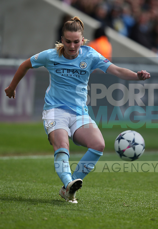 Melissa Lawley of Manchester City during the Women's Champions League, Semi Final 1st leg match at the Academy Stadium, Manchester. Picture date 22nd April 2018. Picture credit should read: Simon Bellis/Sportimage