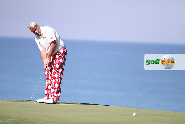 John Daly (USA) on the 18th on the 1st Day of the 2012 Sicilian Open at Verdura Golf and Spa Resort..(Photo Jenny Matthews/www.golffile.ie)