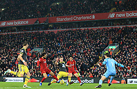 1st February 2020; Anfield, Liverpool, Merseyside, England; English Premier League Football, Liverpool versus Southampton;  Mohammed Salah of Liverpool beats Alex McCarthy of Southampton to score after 71 minutes