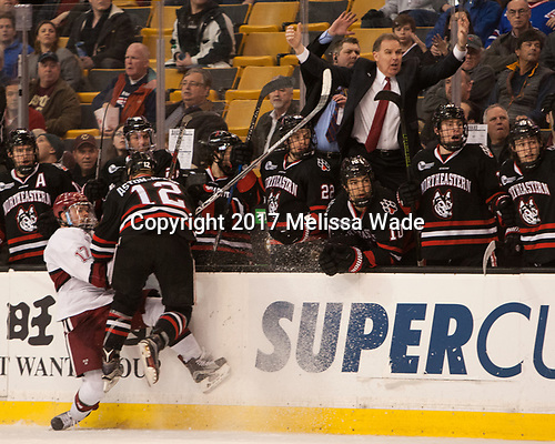 Sean Malone (Harvard - 17), Zach Aston-Reese (NU - 12) - The Harvard University Crimson defeated the Northeastern University Huskies 4-3 in the opening game of the 2017 Beanpot on Monday, February 6, 2017, at TD Garden in Boston, Massachusetts.