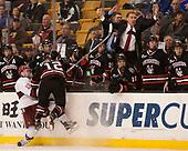 Sean Malone (Harvard - 17), Zach Aston-Reese (NU - 12) - The Harvard University Crimson defeated the Northeastern University Huskies 4-3 in the opening game of the 2017 Beanpot on Monday, February 6, 2017, at TD Garden in Boston, Massachusetts.