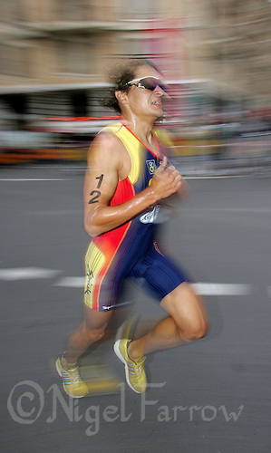 20 AUG 2005 - LAUSANNE, SWITZERLAND - Ivan Rana (ESP) - Elite Mens European Triathlon Championships. (PHOTO (C) NIGEL FARROW)