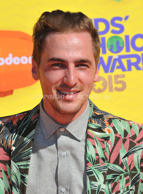WWW.ACEPIXS.COM<br /> <br /> March 28 2015, LA<br /> <br /> Kendall Schmidt arriving at Nickelodeon's 28th Annual Kids' Choice Awards at The Forum on March 28, 2015 in Inglewood, California. <br /> <br /> <br /> By Line: Peter West/ACE Pictures<br /> <br /> <br /> ACE Pictures, Inc.<br /> tel: 646 769 0430<br /> Email: info@acepixs.com<br /> www.acepixs.com