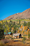 Fall in the Sierra Nevada--Hope Valley cabin and aspen trees, Alpine Co., Calif.